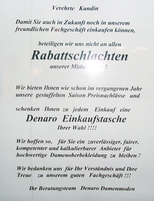 Schaufensterschild