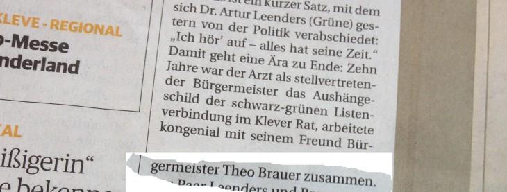 Aus der aktuellen Ausgabe der Rheinischen Post zum Ausstieg von Vizebürgermeister Dr. Artur Leenders aus der Kommunalpolitik