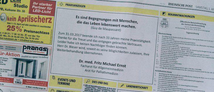 Dr. Ernst: Schluss nach 33 Jahren