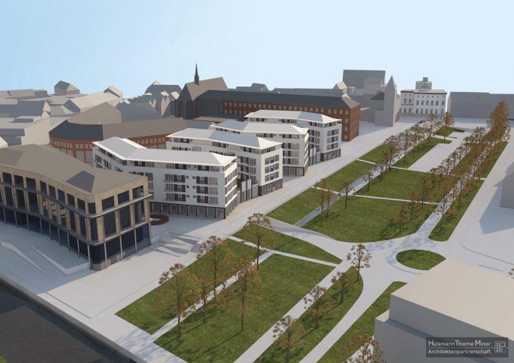 Der neue Entwurf für den Minoritenplatz, der dann nur noch ein kleiner Platz wäre… und der alte macht immer noch Ärger (Visualisierung: HTM Architekten)