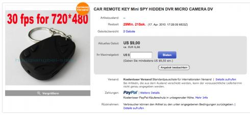 Sieht aus wie ein Autoschlüssel, liefert aber Bilder