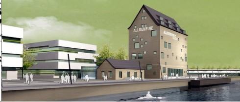 Wissensspeicher (r.), Vorlesungsgebäude (l.)