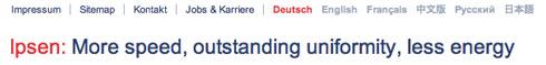 Ipsen-Homepage: Komisches Deutsch – aber klare Botschaft (auch beim Rauswurf)