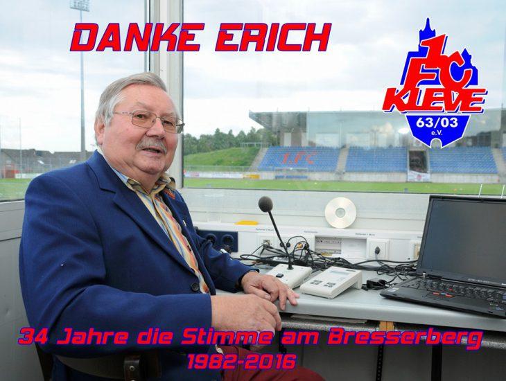 Mit diesem Foto verabschiedet sich der 1. FC Kleve von seinem langjährigen Stadionsprecher Erich Billion
