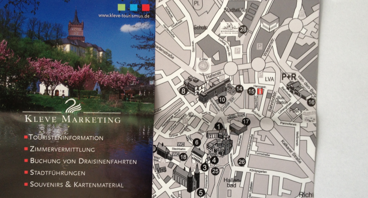 Stadt-Marketing-Flyer: Vorderseite, Rückseite