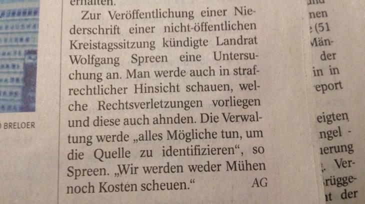 NRZ, 11.04.2014, Landratsmentalität